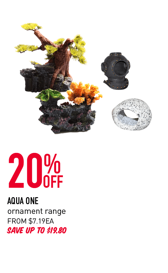 20% Off - Aqua One ornament range. From $7.19ea. Save up to $8.80. Click here to shop now.