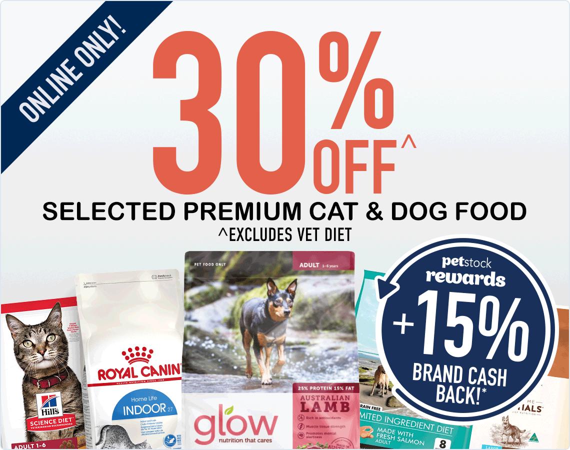30% Off Premium Cat & Dog Food!