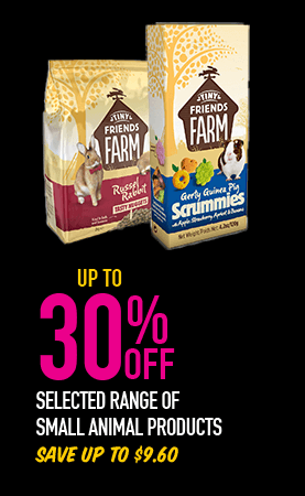 Up to 30% Off - Selected range of small animal products. Save up to $9.60. Excludes stickles range.