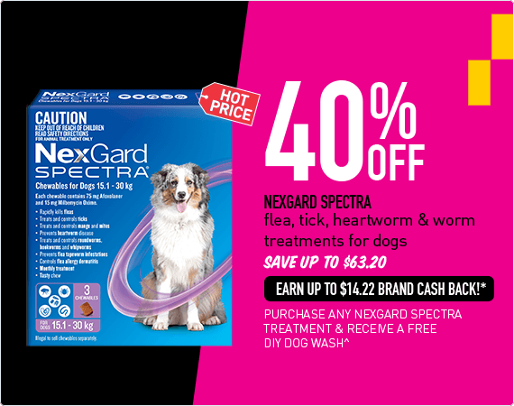 Hotprice! 40% Off - Nexgard Spectra flea, tick, heartworm & worm treatments for dogs. Save up to $63.20. Earn up to $14.22 Brand Cash Back!* Purchase any Nexgard Spectra treatment and receive a FREE DIY dog wash!^
