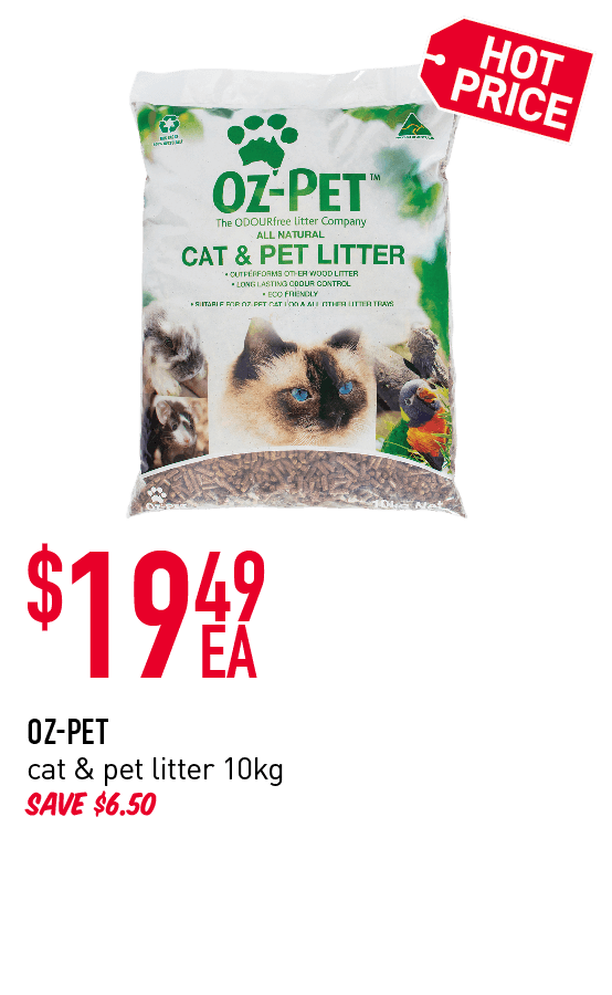 Hotprice! $19.49ea Oz-Pet cat & pet litter 10kg. Save $6.50.