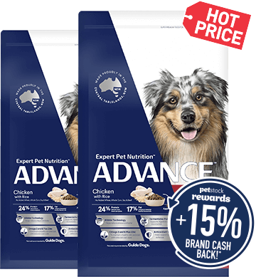 Hotprice $88ea - Advance super premium dry dog food range 15kg. Save up to $41.99. Earn $13.20 Brand Cash Back!* Click here to shop now!