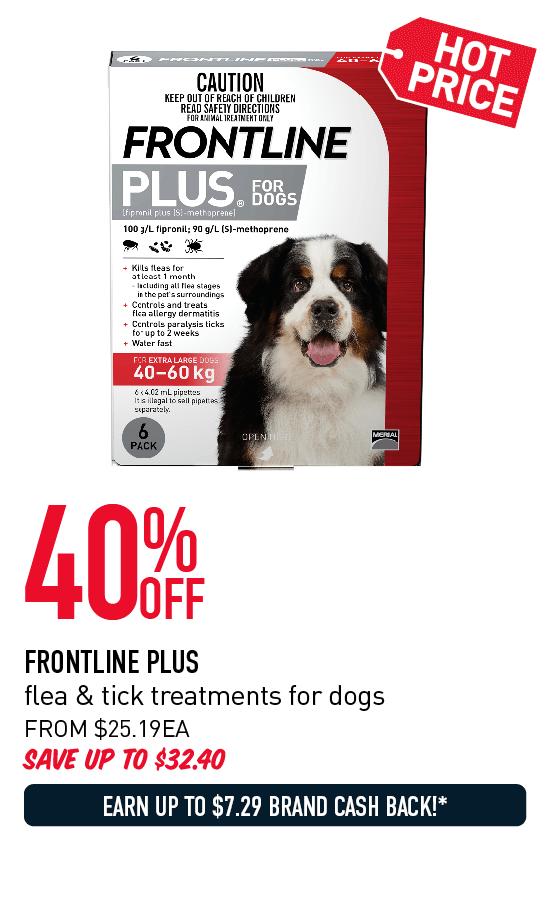 40% OFF FRONTLINE PLUS flea & tick treatments for dogs