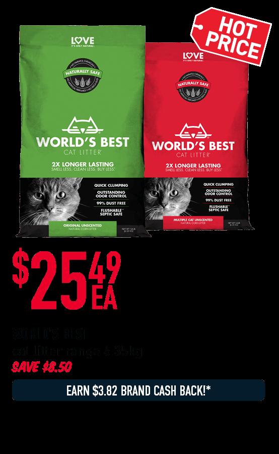 WORLD'S BESTcat litter range 6.35kg - $23.79ea