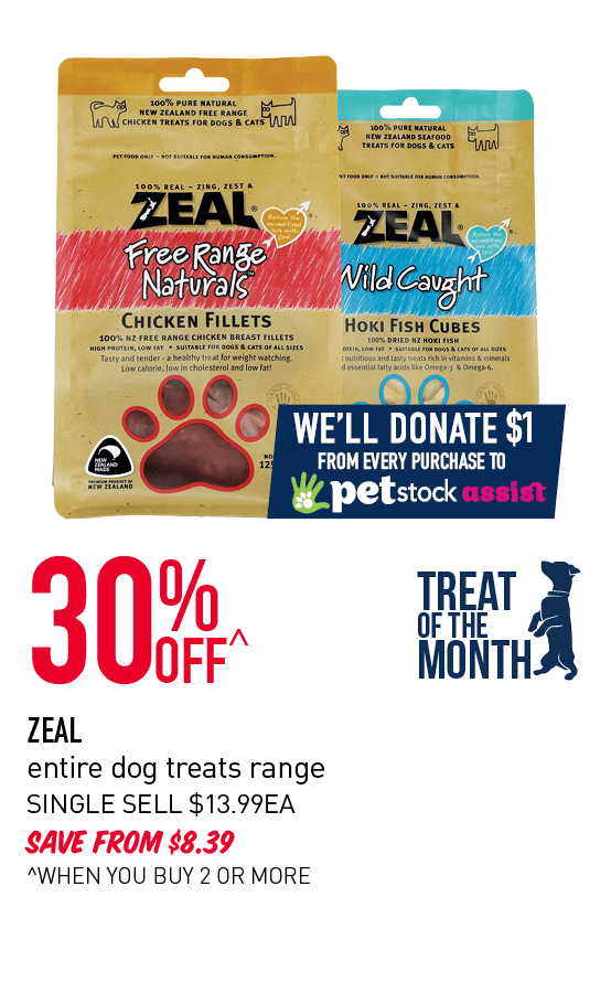 30% OFF ZEAL entire dog treats range - when you buy 2 or more