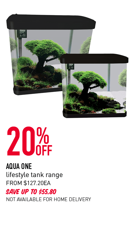 20% Off - Aqua One lifestyle tank range. From $127.20ea. Save up to $55.80. Not available for home delivery. Click here to shop now!