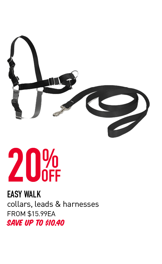 20% Off - Easy Walk collars, leads & harnesses. From $15.99ea. Save up to $10.40. Click here to shop now!