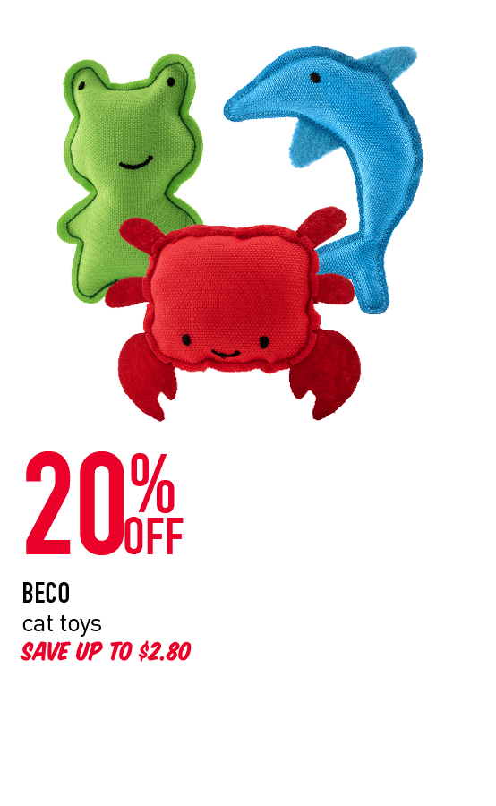 20% Off - Beco cat toys. Save up to $2.80. Click here to shop now!