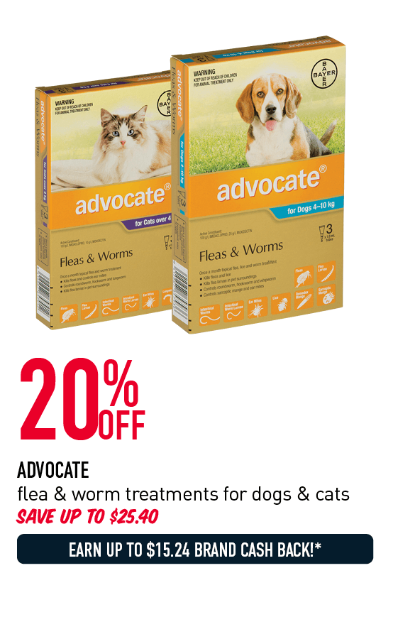 20% Off - Advocate flea & worm treatments for dogs & cats. Save up to $25.40. Earn up to $15.24 Brand Cash Back!* Click here to shop now!