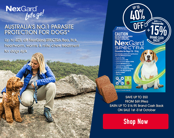 NexGard SPECTRA Australia's No.1 parasite protection for dogs. Save up to $50 Earn up to $16.95 brand cash back On Sale 1st October - 31st October