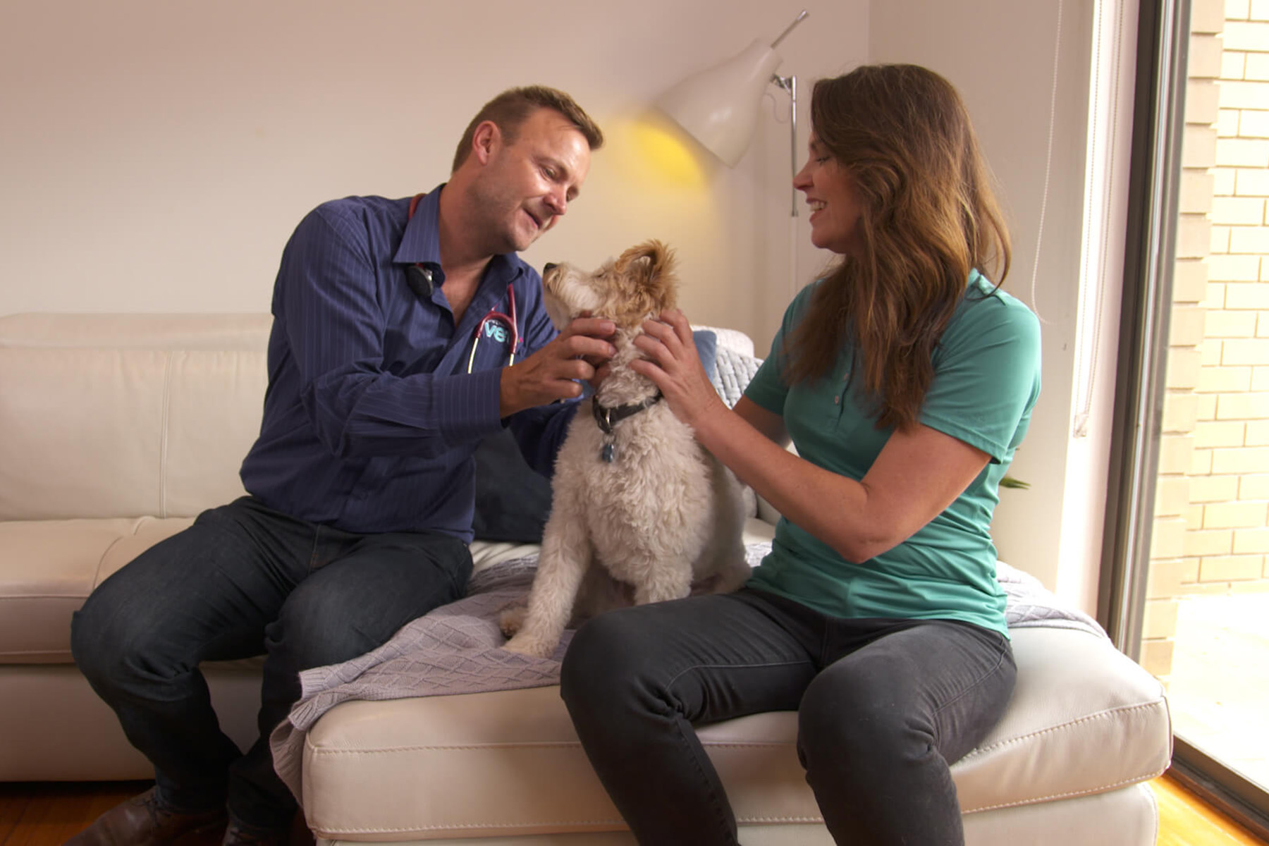 PETstock Vet attending to dog in their home with their owner